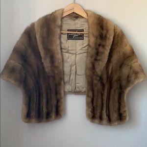 Vintage Mink Fur Stole Cape Wrap